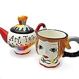 Tea for One Tee-Set | Teekanne und Tasse | 3-teiliges Teeservice mit Teekanne, Teetasse und Deckel | Art-Tea | Hipster | Geschenkidee Muttertag Frauentag