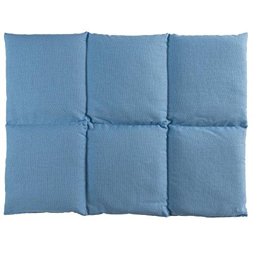 Coussin aux graines de lin Taille 40x30   6 compartiments   Bleu clair   Coussin thermique Coussin à graines
