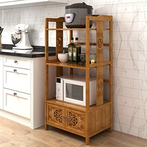 Kitchen furniture - Meuble de rangement en bambou pour meuble de rangement pour rack de fleurs sculptées WXP (Couleur : Brown, taille : 58X37X123CM)