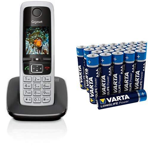 Gigaset C430 Schnurlostelefon (4,6 cm (1,8 Zoll) TFT-Farbdisplay, Dect-Telefon, Freisprechen) schwarz/silber & Varta Longlife Power Batterie AAA Micro Alkaline Batterien LR03 - 24er Pack Aaa-alkaline-family Pack