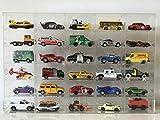 JAUTO Sammlervitrine Wandvitrine Wandregal Hängeregal Hängevitrine Vitrine Schaukasten aus Acrylglas für 1:64 Modellauto mit Tür 30 Fächer