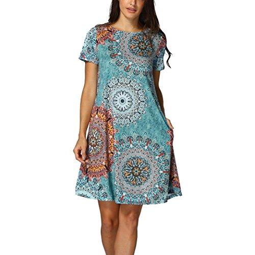 OYSOHE Damen Vogue Bohemien Kleid, Neueste Womens Ärmelloses Vintage Boho Maxi Abend Partei Strand Blumenkleid (M, Mehrfarbig-1)