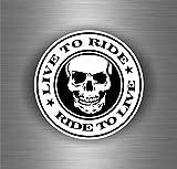 Autocollant sticker biker motard voiture moto casque live ride ride to live