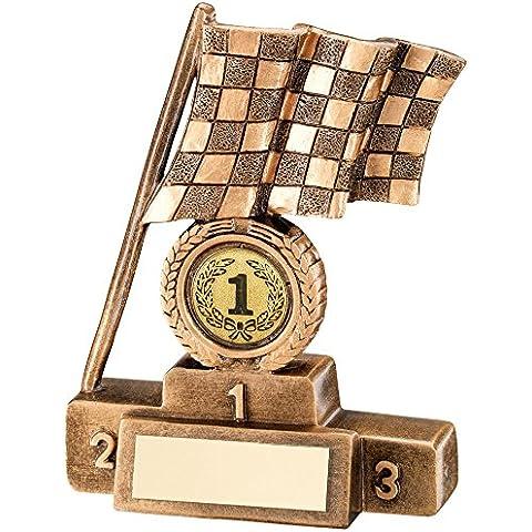 Motorsport Racing, motivo: trofeo, in resina, motivo: bandiera a scacchi e Podium