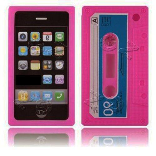 Gadget Zoo Coque en gel de silicone pour Apple iPhone 3G/3GS Motif cassette rétro Rose vif