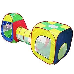 Tente Pop Up Tunnel des enfants Maison de Jouet et Piscine -3piècesIndoor / Outdoor , BOULES NON INCLU (bleu)