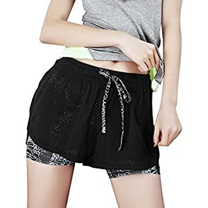 FITIBEST Damen 2 in 1 Sport Shorts Fitness Shorts Mesh Gym Yoga Shorts Laufshorts Fitness Trainingsshorts