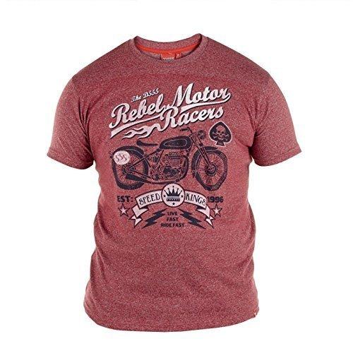 Duke Herren D555 Ivor Oder Keith Groß Hoch King-size Rundhals Bedrucktes T-shirt Top T Shirt Cremef. Ziegelrot