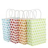 Kbnian12 Stücke Papiertüten Papiertragetaschen Geschenktüten aus Kraftpapier für Kinder Geburtstagsparty, Ostern, Weihnachten, Hochzeit (grün, gelb, rot, Rosa)