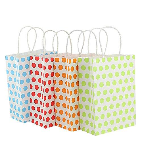 Kbnian 12 Stücke Papier Geschenktüten mit Griff Vier Farben Nette Taschen für Hochzeit Festival Geburtstag Valentinstag (rot, blau, gelb, grün)
