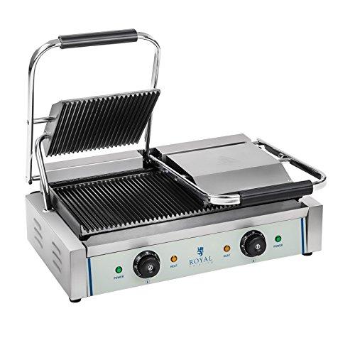 Royal Catering - RCKG-3600-G - Doppel Kontaktgrill Tischgrill Sandwich Maker (2 x 1.800 W, 230 V,...