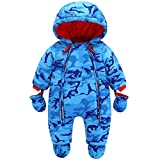 JiAmy Baby Winter Hooded Romper Snowsuit with Gloves Booties Cotton Jumpsuit Outfits