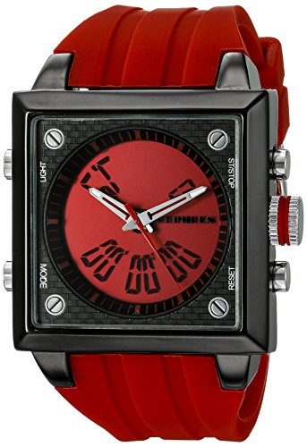Cepheus Men's Quartz Watch with Red Dial Analogue - Digital Display and Red Silicone Strap CP900-644