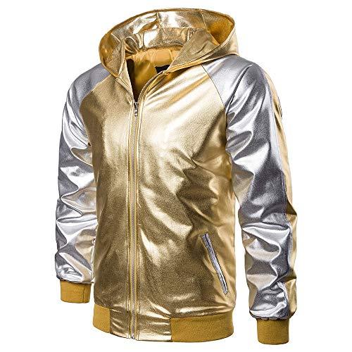 LEEDY Herren Schwarz Gold Jacke Kunstleder Lederjacke Kapuzenjacke Mit Taschen Cardigan Biker Body Fit Bikerjacke Winterjacke Outwear...