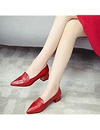 Jqdyl Tacones Zapatos de mujer Primavera Otoño Zapatos Mujeres con boca gruesa puntiaguda superficial baja ayuda...