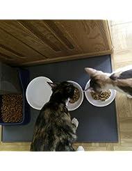 Alfombrilla para by Goannra alimentos para mascotas FDA Alimentación de grado de silicona para mascotas de alimentación de la bandeja Impermeable antideslizante piso limpio para colchonetas de alimentos para perros y gatos (Grey, Large)