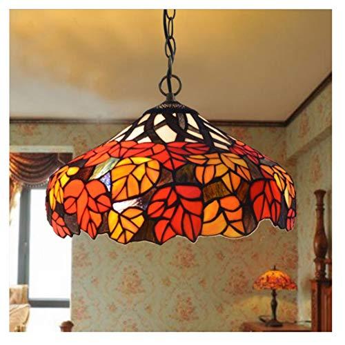 SIMGULAM Tiffany Lampe, hängende antike Tiffany Lampen Ahornblatt Glasmalerei Vintage Schmiedeeisen Deckenplatte 16 '' E27 (16 Deckenplatten)
