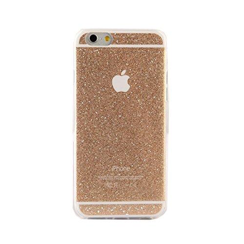 New Energy Coque en silicone à paillettes pour iPhone 6, 6S + film protecteur d'écran doré