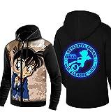 Cosstars Detective Conan Anime Sudaderas con Capucha Hoodie Sweatshirt Adulto Cosplay Luminoso Zip Jacket 3 M