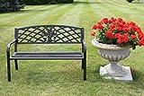 Metallgartenbank mit Blumenmustereinsatz aus Gusseinsatz - 2- oder 3-Sitzer