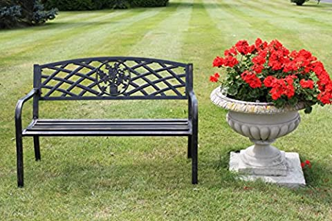Metal Garden Bench with Cast Iron Floral Pattern Insert- 2 or 3 seater