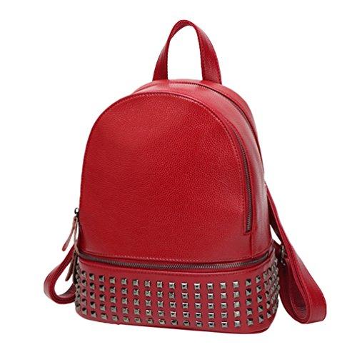 NiSeng Damen Pu Leder Rucksack Schüler Persönlichkeit Niet Mode Taschen Daypacks Schulrucksack Rotwein