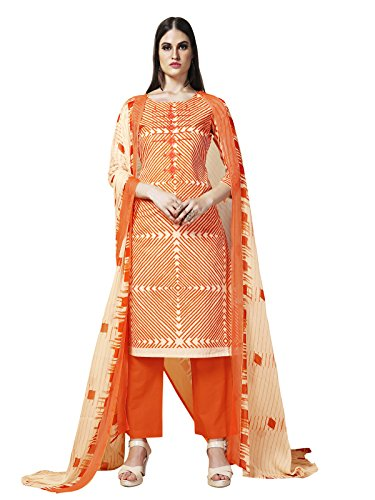 Kanchnar Off White Color Women's Cambric Cotton Embroidery Work Unstiched Dress Material-739D1005