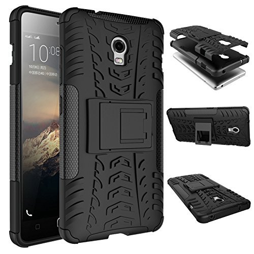 Awesome Heavy Duty Shockproof Military Grade Armor Dual Protection Layer Hybrid Kick Stand Back Cover Case for Lenovo Vibe P1 - Black