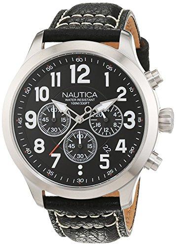 nautica-nai14516g-montre-homme-quartz-analogique-cadran-argent-bracelet-cuir-noir