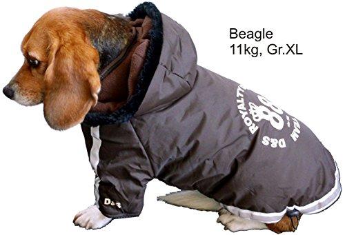 Dogs Stars Hundemantel Football braun - Top Qualität mit Reflektionsstreifen - federleicht - flauschig gefüttert - wasserabweisend - Kapuze abnehmbar