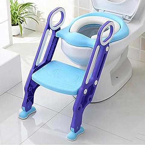 HTTMYY Kinder Toilette Toilettenleiter Faltbar Ausbildungssitz Rutschfest TöPfchen Stuhl Vielseitig Hadr Kissen , A