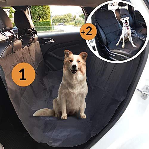 coprisedile auto per cani kit completo, telo auto per cani davanti e dietro, copri sedile auto, amaca per cani, protezione sedili macchina cane,  copertura cuccia universale (nero)