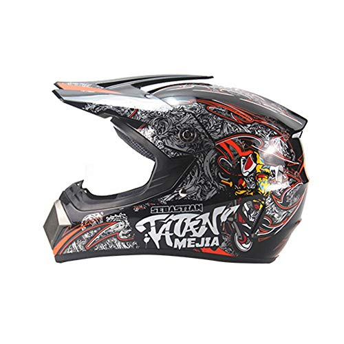 Fest Vier Jahreszeiten Cross Country Helm Motocross Helm Mountainbike Full Helm Multicolor Helm Cross Country Helm Road Offroad Rennhelm - Leuchtend schwarz - rot - orange - groß Wirksam (Size : L) -