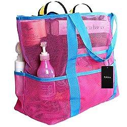 Faleto XXL Netz-Strandtasche Familie Mesh-Strand-Tasche Netztasche für Sandspielzeug, Extra Große Familie Mesh Beach Bag Tote, Grün/Blau/Schwarz/Rose Rot (Rose Rot)