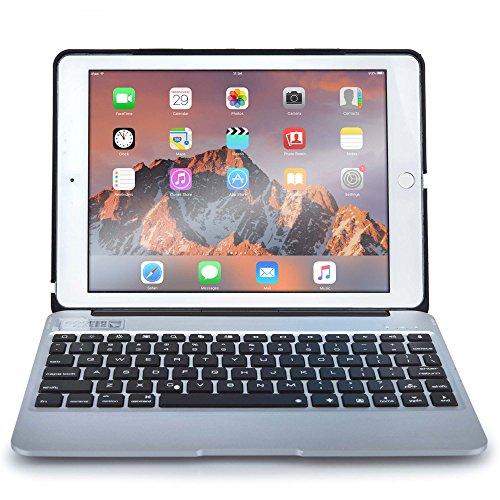 iPad Air 2 / Pro 9.7 Custodia con Tastiera, COOPER KAI SKEL A1 Custodia A Guscio Rigido Per Il Trasporto con Tastiera Bluetooth QWERTY Wireless con Batteria Esterna (Argento, Funzione Sleep/Wake) - Braccio Dell'asta Asta Del Microfono