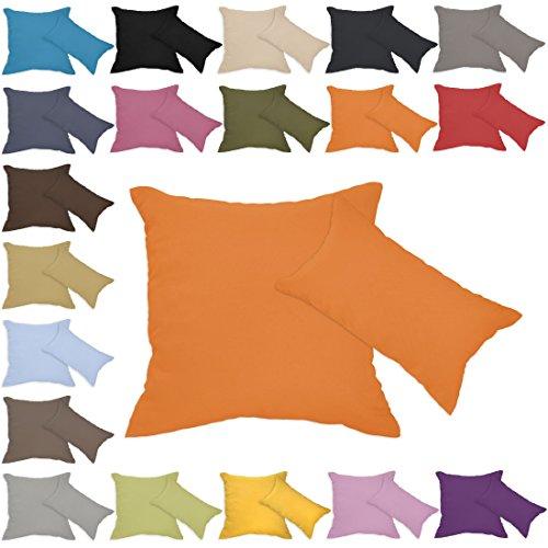 Qool24 Leinen-Optik Kissenbezug mit Reißverschluss Kissenhülle Kissenbezüge 23 Farben und 19 Größen Orange 30x30 cm -