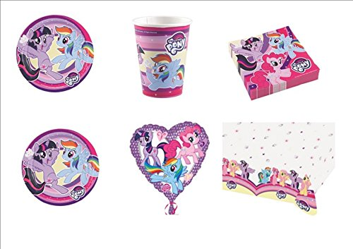 My Little Pony New coordonné décorations fête table enfants - Kit N ° 26 CDC- (8 assiettes, 8 gobelets, 20 serviettes, 1 nappe, 1 ballon Foil)