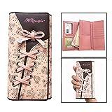 OFKPO Damen Leder Portemonnaie,Süß Blumen Geldbörse Schuhband Geldbeutel(Rosa)