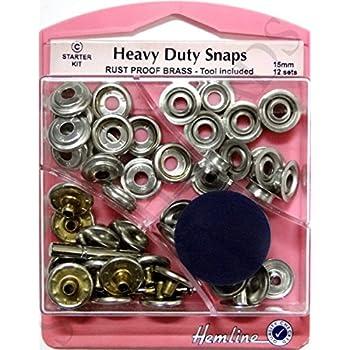 Silver Nickel Heavy Duty Snaps 15mm X 12 Sets Poppers Fasteners Press Studs Bnip
