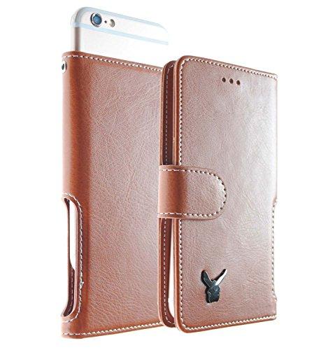moncabas Links Hand Hält Slide [Touch up] Smart Leder Wallet Schutzhülle [Wristlet] für Alle Smart Phone Unter 11,9cm, Braun