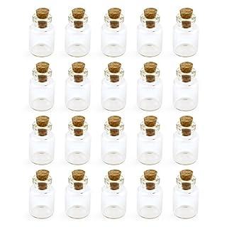 Grenhaven 20er Set Mini-Fläschchen 1.5 ml aus Echtglas kleine Glasfläschchen mit Korkverschluss Glasflaschen für Dekoration, Aufbewahrung von klein Teilen oder zum Basteln
