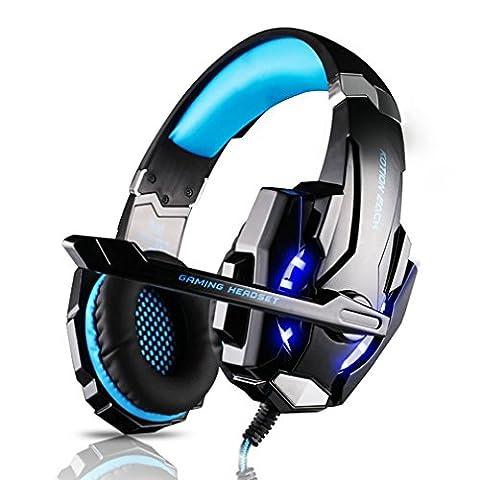 Casque Gamer LESHP Micro Casque PS4 Gaming, Audio Stéréo Basse avec LED Lampe Luminosité, bien Anti-Bruit, Casque Contrôleur Sur-Ligne pratique, Compatible pour PS4, PC, Laptop, Tablette, et Tous les Smartphone (Noir+Bleu)