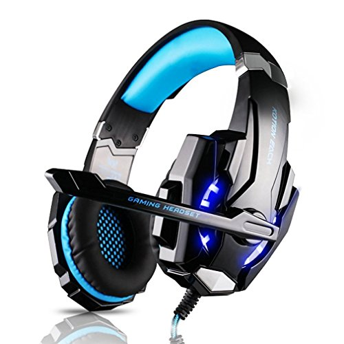 eadset, Professionelle Gaming Kopfhörer mit Mikrofon 3.5mm On Ear Surround Sound Ohrhörer mit Bass-Stereo Lautstärkeregelung für PS4 PC Laptop Tablet Mobile Phones Blau ()