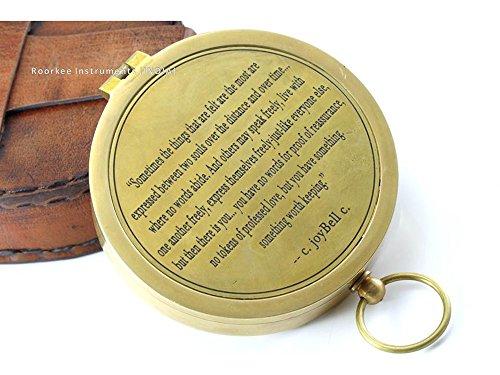 C Joybell C Love über den Meilen Romantische Gravur aus massivem Messing Kompass mit Ledertasche
