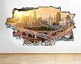 tekkdesigns B086New York City Szene Sunset Wohnzimmer Wand Aufkleber 3D Poster Kunst Aufkleber Kinder Schlafzimmer Kinderzimmer Baby Cool Wohnzimmer Hall Jungen Mädchen (groß (90x 52cm))