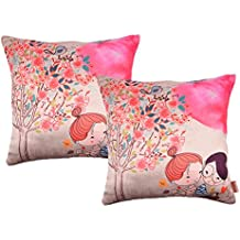 Nostaljia Valentine Couple Cushion Cover's(Set of 2) Digital Print Zip Clouser