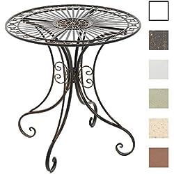 CLP Table de Jardin en Fer Forgé HARI - Table de Terrasse au Style Antique - Table Jardin en Fer avec un Diamètre de Ø 70 cm et une Hauteur de 73 cm - Meuble de Jardin Romantique - Couleurs au choix: bronze
