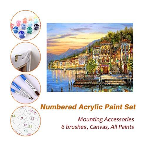 Full House Paint Acryl Ölgemälde Malen nach Zahlen Kits Sets Mit Rahmen Für Kinder Erwachsene Anfänger Künstler, Eindruck von Golden Lake DIY Wandkunst Bild Fotografie Pinsel liefert 625 - Eindruck Gerahmt
