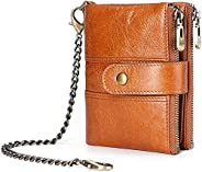 Packet,Popular bag,SYXX Wallet Mens Chain Purse Genuine Leather Women Pocket Bifold Coin Wallet Waterproof Car