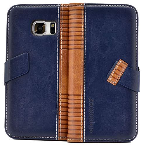 Handyhülle für Samsung Galaxy S7 Hülle Schutzhülle Handytasche Case Cover Grau mit Kartenfach Blau